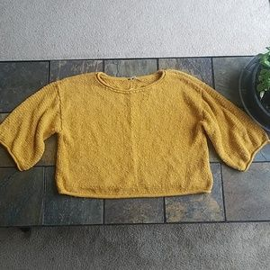 Free People Mustard Yellow Cropped Cotton Sweater